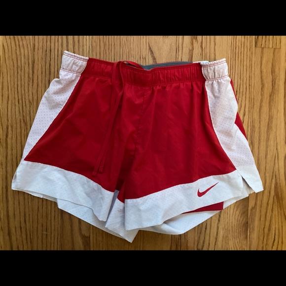 Nike Womens Red White Nike Dri-Fit Shorts M